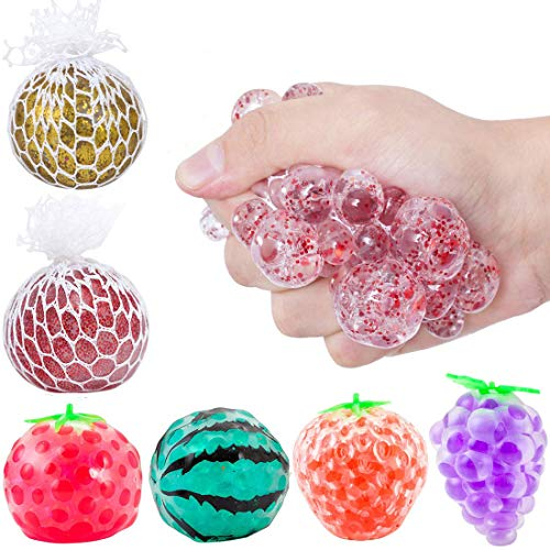 6Pcs Stress Relief Balls, Squeezing Relief Ball Mesh Funny Vent Toys Sensory Rubber Fruit Ball for Autism, ADHD, Anxiety, Bad Habits Squeeze Stress Ball (Ball A)