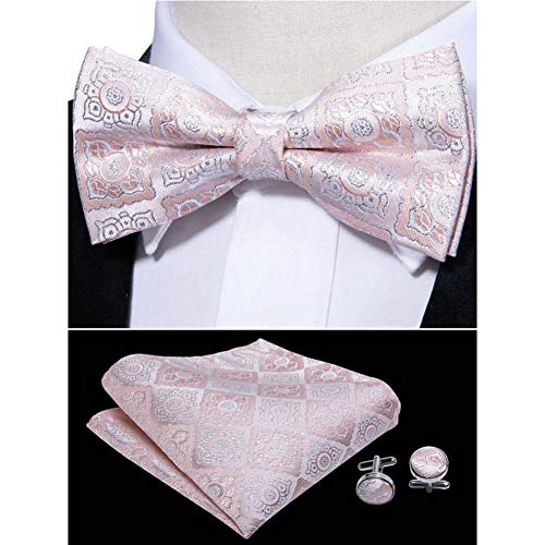 WOXHY Pink Paisley Bow Ties for Men Gifts Box Sets Silk 30 Colors Neckwear Neckties Hanky Cufflinks Sets