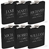 Personalized Flask For Wedding Groomsmen Gift, Customized Flask Set FREE Personalization - Laser Engraved - Design -5 | Set of 6