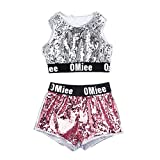 Kids Girls Hip-hop Jazz Performance Costumes Dancing Clothes Sequin School Halloween Set (7-8Years, Sliver Set)