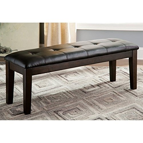 Ashley Furniture Signature Design - Haddigan Upholstered Dining Room Bench - Casual Tufted Seating - Dark Brown (Upholstered Dining Table Bench)