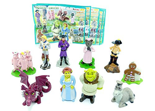 Shrek The Third - 2007 Complete Set of 10 Figures - Kinder Surprise Figures from Germany- Ferrero DreamWorks with one Paper