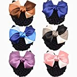 6 Pcs Hair Womens Lady Lace Bow Bowknot Mesh Elastic Snood Net Bun Cover Net Professional Headdress Flower Hair Clips