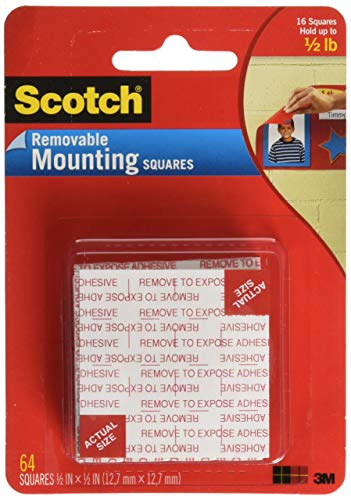 Scotch Foam Mounting Removable, 1/2 x 1/2 Inch, 64 Squares (108-SML) - Pre Mounting Foam Cut