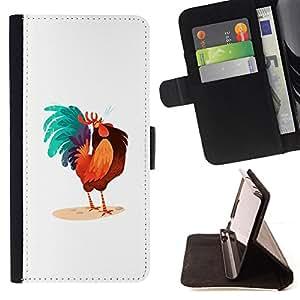 BullDog Case - FOR/Samsung Galaxy A3 / - / ROOSTER COLORFUL ART BLUE BIG TAIL DRAWING /- Monedero de cuero de la PU Llevar cubierta de la caja con el ID Credit Card Slots Flip funda de cuer