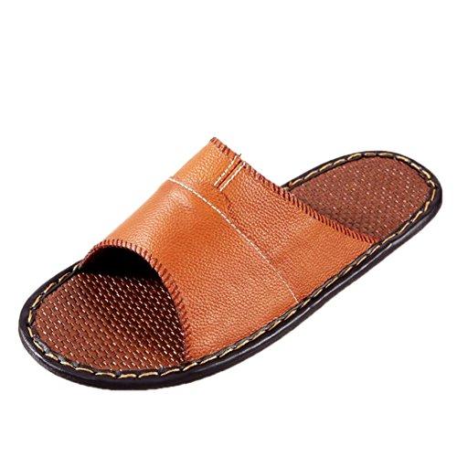 Women Corium for Smelly Orange Leather Men Spring Anti Autumn Slippers TELLW Cowhide W Floor Wooden Summer BqdBPO