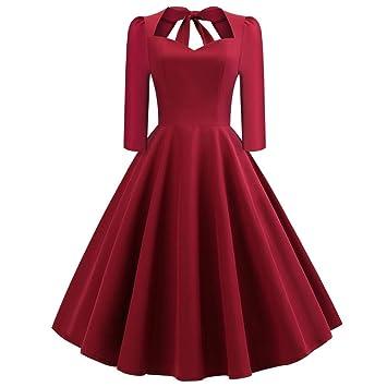 dcbdfe5eb6b Robes de Soirée Femme Vintage Audrey Hepbur Sexy Col V Robe Bal avec Nœud  Papillon