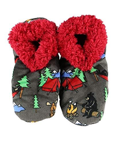 Happy Camper Womens Plush Fuzzy Feet Slippers by LazyOne   Ladies Soft Fuzzy House Slippers (L/XL)