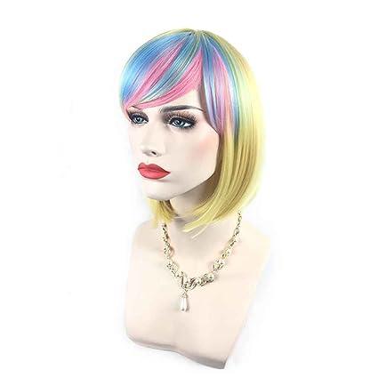 Babysbreath Mujer cortos rectos degradado color resistente al calor pelucas sintéticas cosplay de pelo 8#