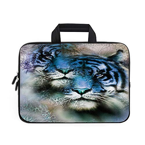Animal Decor Laptop Carrying Bag Sleeve,Neoprene Sleeve Case/Two Tiger Safari Cat African Wild Furious Life Big Animals Art Print/for Apple Macbook Air Samsung Google Acer HP DELL Lenovo AsusBlue Blac