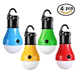 LED Camping Light, T&HOME [4 Modes] Hurricane Emergency Portable Outdoor Tent Lantern Bulb for Camping, Portable, Hiking, Fishing, Storm, Outage [ 4 PACK ]