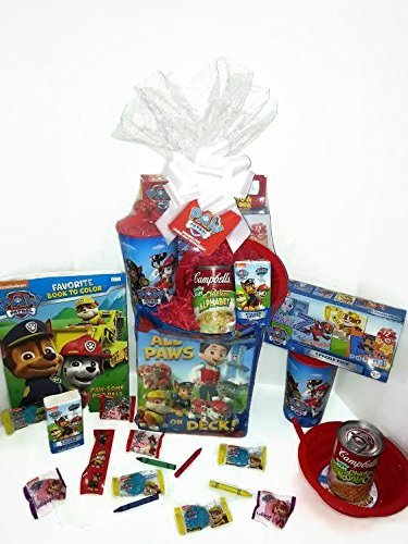 Paw Patrol Gift Basket, Get Well Soon, Care Package, Kids Action Pack Paw Patrol Toy Puzzle, Coloring Book, Candy, Tissue, Stickers, Paw Patrol Cup, Bowl & Campbell's Soup 10pc Bundle (Easter Care Package)