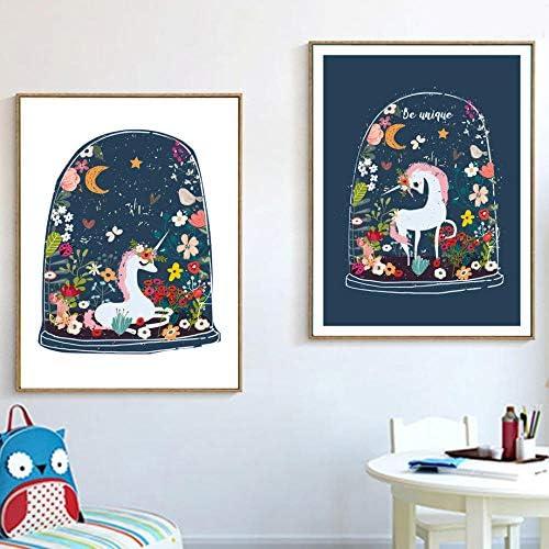 花ユニコーンキャンバス絵画壁アートポスタープリントポスター漫画動物壁写真ベビーキッズルームの装飾-50×70センチ×2ピースフレームなし