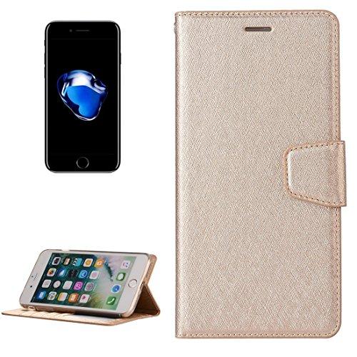 Wkae Textura de seda Horizontal Flip caja de cuero con la cartera y el titular y la ranura para tarjetas y marco de fotos para el iPhone 7 Plus ( Color : Magenta ) Gold