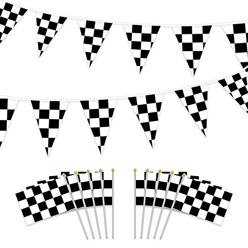HEHALI 100ft Checkered Black and White Pennant Banner Racing Flags, and 10pcs Checkered Flags with Plastic Stick (8x5.5 Inch)