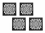 4 Air Grilles Black Cast Aluminum Rustproof Set Of 4 14 X 16