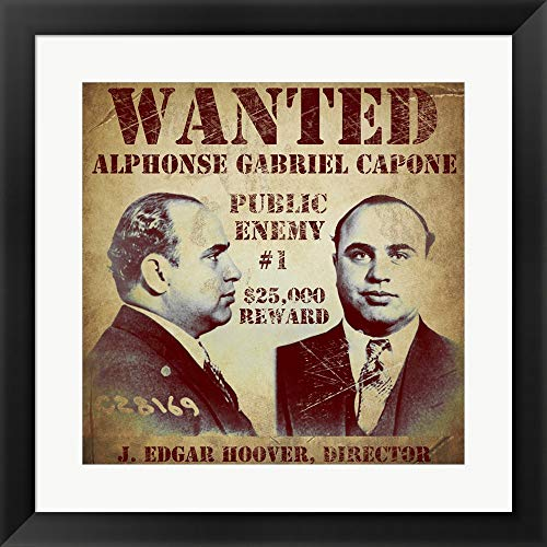 (Al Capone Wanted Poster by Vintage Apple Collection Framed Art Print Wall Picture, Flat Black Frame, 20 x 20 inches)