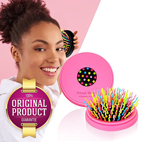 CANDYLOVE Detangler Hair Brush with Mirror for Kids, Ladies. Prevent Tangling, Knots with Portable Smoothing Straightener. Unique Bristles for Frizzy, Tease, Wet. Creative Healthy Hair. [Compact Pink]