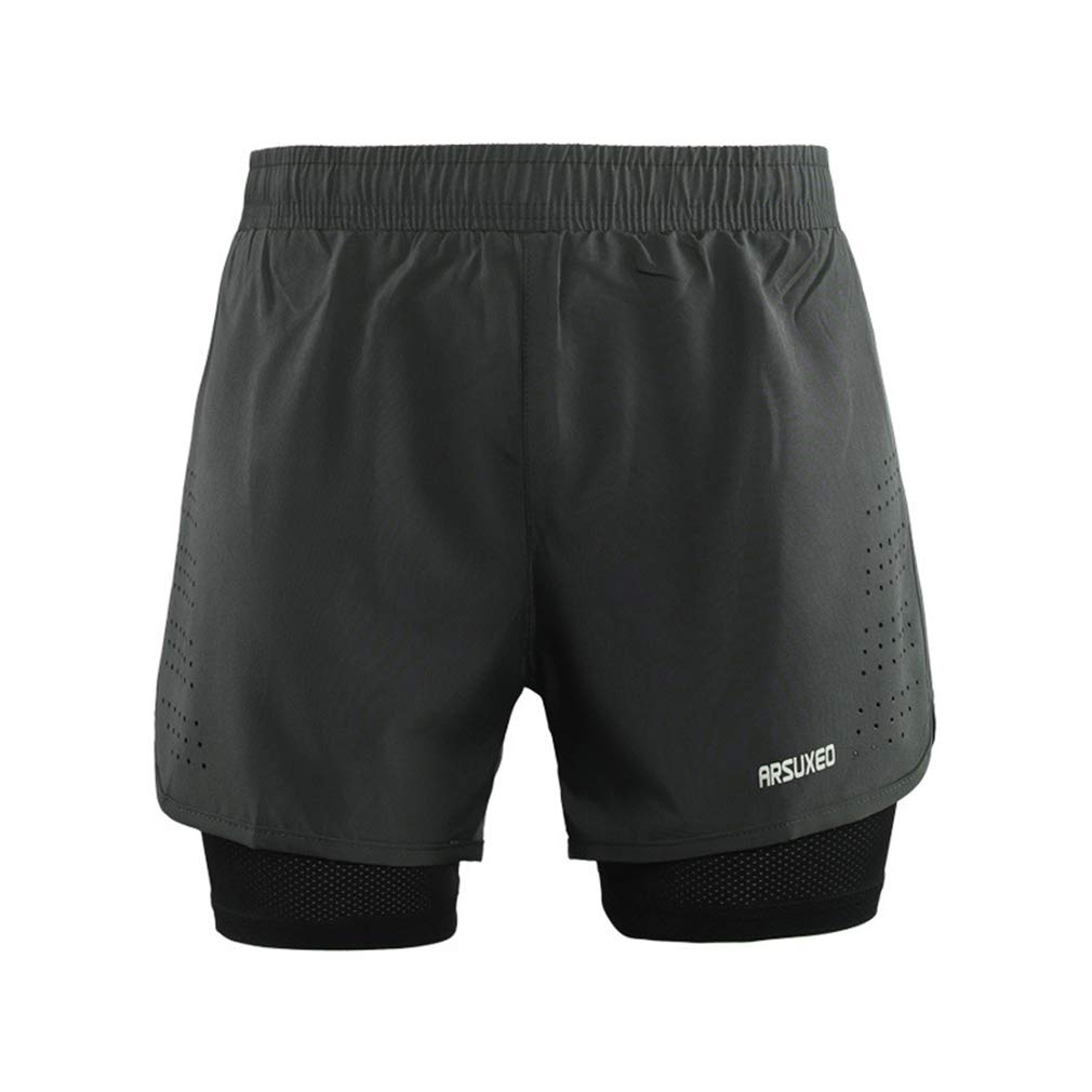 X-Labor Herren 2 in 1 Sport Shorts Kurz Laufhose Mesh Innen Fitness Gym Yoga Laufshorts Trainingsshorts Sporthose