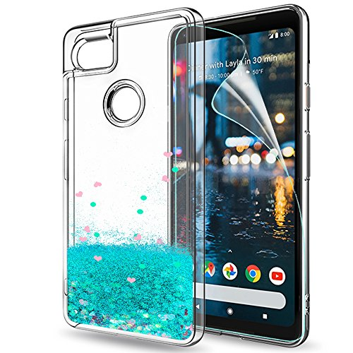 Price comparison product image Google Pixel 2 XL Case,Pixel 2 XL Glitter Case with HD Screen Protector,LeYi Moving Quicksand Liquid Girl Women Cute Clear TPU Hybrid Shockproof Drop Protector Phone Case for Pixel 2 XL ZX Turquoise