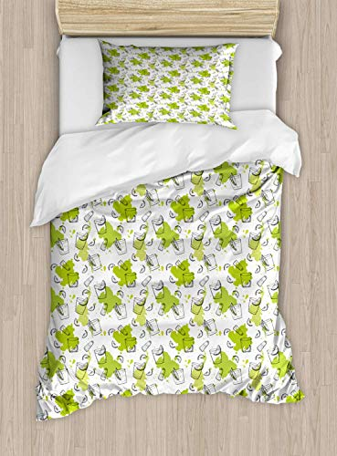 Luxury Tequil2 Piece Bedding Set Twin Size, Outline Sketch Pattern of Glasses Lemon Slices Salt Shaker, 2PCS Duvet Cover Set with 1 Pillow Case for Kids/Teens/Children Room