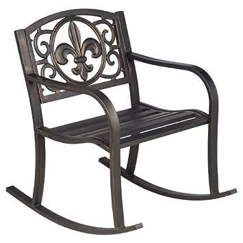 Perfect Steel Powder Coated Outdoor Fleur De Lis Patio Rocking Chair