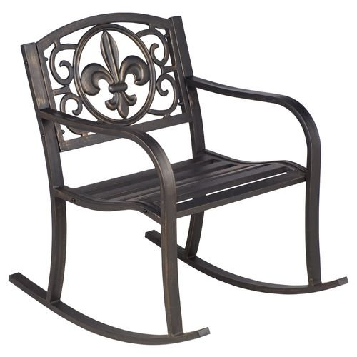 Steel Powder Coated Outdoor Fleur-de-Lis Patio Rocking Chair