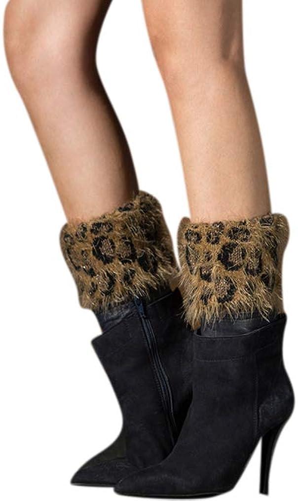 Ealafee Winter Socks Footless Socks Boot Cuffs Warm Knit Leg Warmers for Women