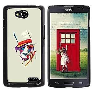 YOYOYO Smartphone Protección Defender Duro Negro Funda Imagen Diseño Carcasa Tapa Case Skin Cover Para LG OPTIMUS L90 D415 - naranja pintura sombrero de copa mujer sensual