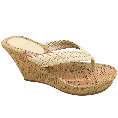 Women Platform Thong Sandals Fashion Colors Wedge Heel Shoes (Natural Woven) 7.5 US