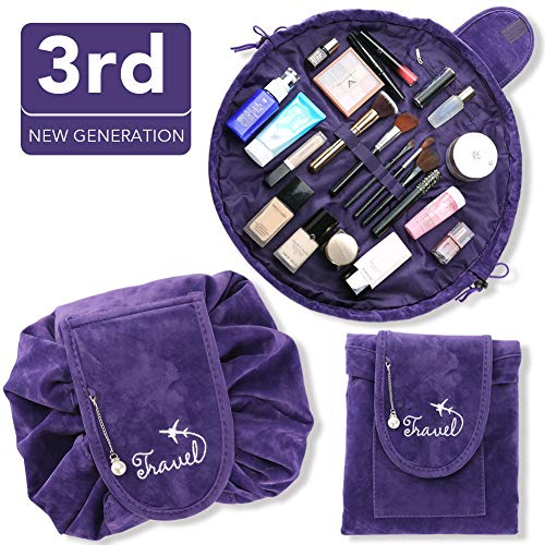 Drawstring Makeup Bag, 3rd Generation Large Capacity Portable Cosmetic Bag, Travel Toiletry Lazy Velvet Bag, Storage Organizer Pouch for Women Girls, Quick Pack, Waterproof & Zipper(Purple) Fnova