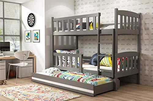 W = Weiß Liegefläche 190 x 80 cm BMS Etagenbett Jonas mit Gästebett - Grau Größe Liegefläche 190 x 80 cm, Farbe W = weiß