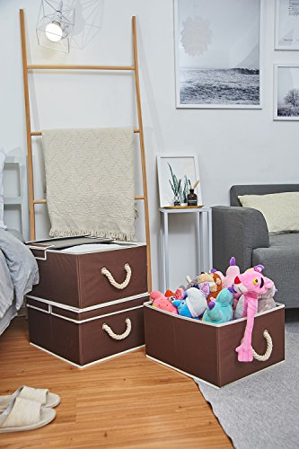 Canvas Storage Box with Lid and Strong Cotton Rope Handle, Foldable Closet Organizer By StorageWorks, Brown, Jumbo, 3-Pack