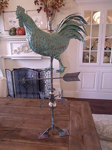 FurnitureBarnUSA Large Handcrafted 3D 3- Dimensional Strutting Rooster Weathervane Copper Patina Finish