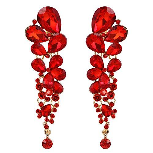 EVER FAITH Women's Austrian Crystal Gorgeous Wedding Tear Drop Clip-on Dangle Earrings Red Gold-Tone