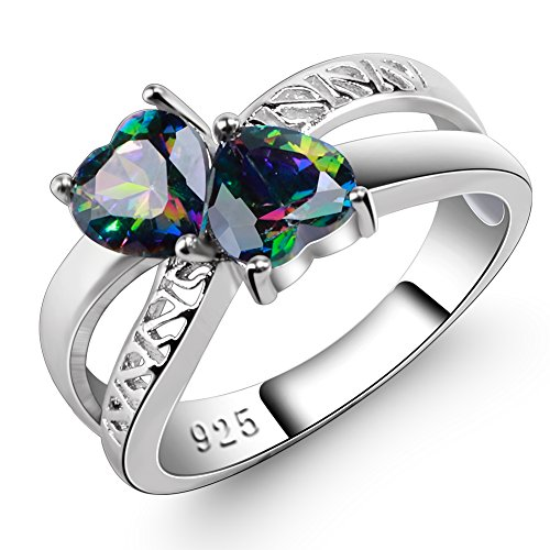 (Veunora 925 Sterling Silver Created Rainbow Topaz Filled Double Heart Twisted Friendship Ring Size 6)