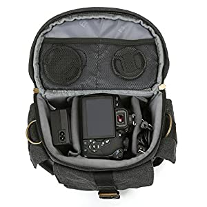 Evecase DSLR/SLR Camera Canvas Case Bag with Shoulder Strap For Compact system, Hybrid, Mirrorless, Micro 4/3 System, Full Frame, and High Zoom Digital Camera and other Accessories - Black / Medium from Evecase