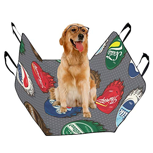 XINGCHENSS Fashion Oxford Pet Car Seat Cola Retro Juice Soda Hand-Painted Art Fashion Creative Waterproof Nonslip Canine Pet Dog Bed Hammock Convertible for Cars Trucks SUV