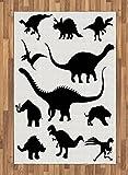 Ambesonne Dinosaur Area Rug, Various Black Dino Silhouettes Jurassic Evolution Extinction Predator Animals, Flat Woven Accent Rug for Living Room Bedroom Dining Room, 4 X 5.7 FT, Black White