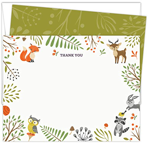 Woodland Animals Baby Shower Thank You Cards. Set of 25 5.5