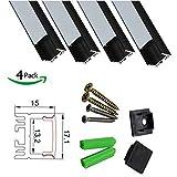 LEDneighbor Black LED Profile 17x15mm Aluminum Channel for 10mm-12mm LED Strip Light Hidden Clips Fixed Screw 4 Packs 3.3ft/1Meter