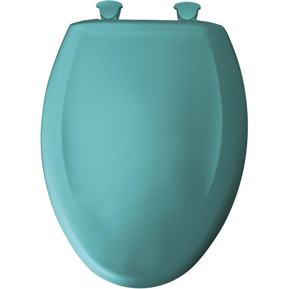Bemis 1200SLOWT 465 Slow Sta-Tite Elongated Closed Front Toilet Seat, Classic Turquoise