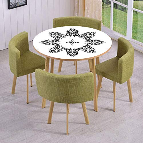 Round Table/Wall/Floor Decal Strikers,Removable,Ethnic Tattoo Circular Vector Art Leaves Like Frame Modern Print,for Living Room,Kitchens,Office Decoration