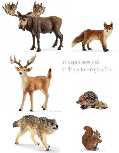 Schleich Realitic Forest Set of Six 6 Wild Animals Including Moose, Fox, Deer, Hedgehog, Squirrel and More in Bag Together with Tissue Paper and Bow. (Schleich Squirrel)