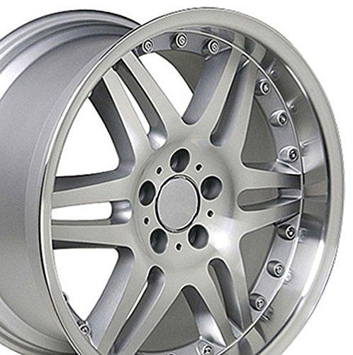 18x8.5 Wheel Fits Mercedes Benz C E S Class SLK CLK CLS - ET35 Split Spoke Silver Mach'd Rim - SET ()