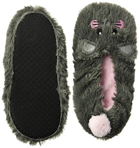 Jacques Moret Big Girls' 3D Soft Cozy Critter Slipper Non-Slip Grippers, Grey Mouse, Sock Size M/L fits Shoe Size 11-2.5 by Jacques Moret (Image #1)