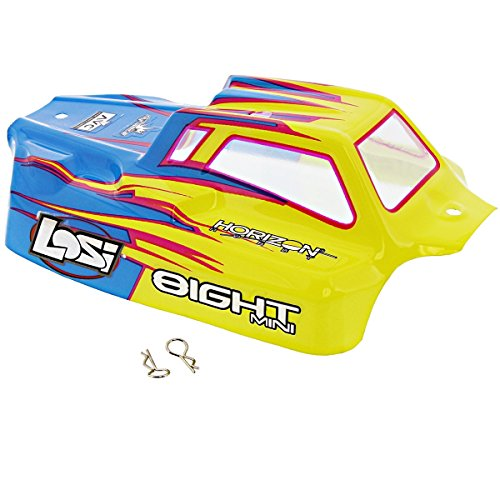 Losi 1/14 Mini 8ight Buggy YELLOW & BLUE BODY SHELL & CLIPS Painted Decals (8ight Buggy Body)