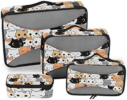 カラフルな猫子猫荷物パッキングキューブオーガナイザートイレタリーランドリーストレージバッグポーチパックキューブ4さまざまなサイズセットトラベルキッズレディース