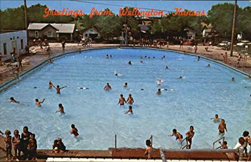 Municipal Swimming Pool Wellington, Kansas Original Vintage Postcard