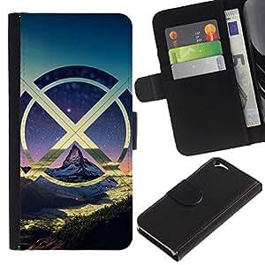 KLONGSHOP // Tirón de la caja Cartera de cuero con ranuras para tarjetas - X Montañas Nube - Apple Iphone 6 //